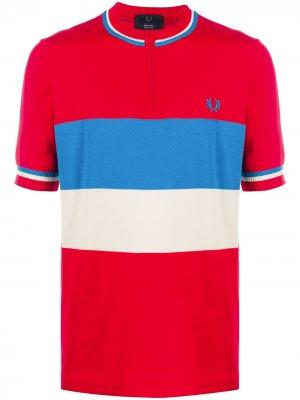 Полосатая рубашка поло без воротника Fred Perry. Цвет: красный