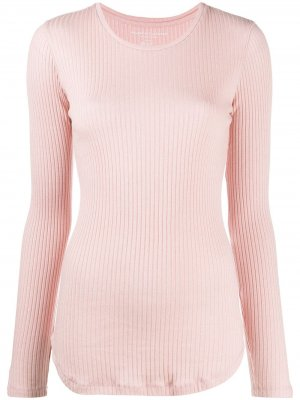 Приталенный пуловер в рубчик Majestic Filatures. Цвет: розовый