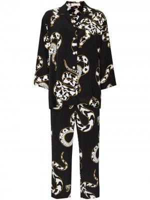 Пижама Casablanca Ciro со змеиным принтом Olivia von Halle. Цвет: черный