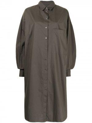 MarquesAlmeida платье-рубашка миди с длинными рукавами Marques'Almeida. Цвет: зеленый