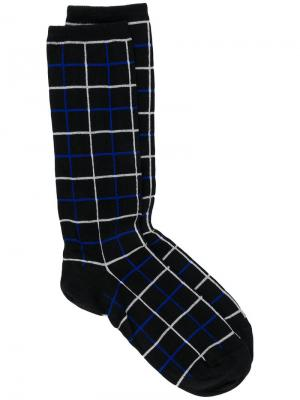 Grid patterned socks Haider Ackermann. Цвет: черный