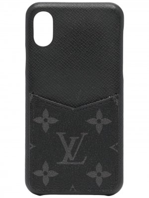 Чехол pre-owned для iPhone X с монограммой Louis Vuitton. Цвет: черный