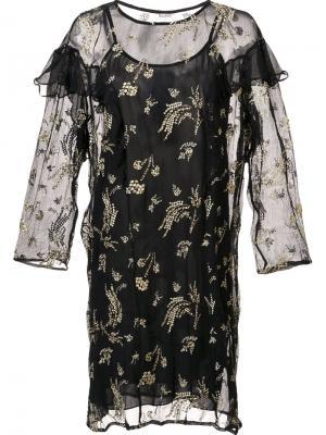 Прозрачное платье с рюшами Suno. Цвет: черный