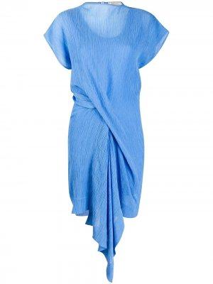 Легкое платье со сборками спереди Nina Ricci. Цвет: синий