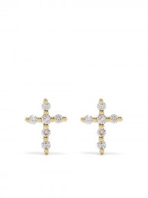Серьги Big Cross из желтого золота с бриллиантами Djula. Цвет: золотистый