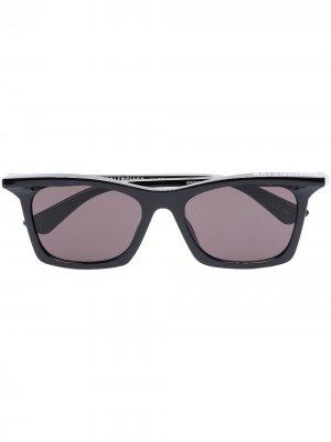 Солнцезащитные очки Rim в прямоугольной оправе Balenciaga Eyewear. Цвет: черный