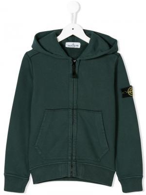Logo sleeve hoodie Stone Island Junior. Цвет: зеленый