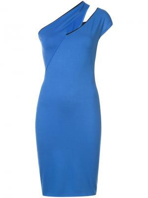Коктейльное платье со скошенным плечом Mugler. Цвет: черный