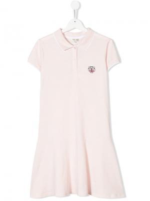 Платье-поло с заплаткой тигром Kenzo Kids. Цвет: розовый