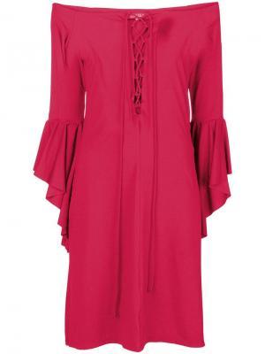 Платье-миди с расклешенными рукавами Fisico. Цвет: розовый