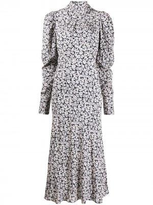 Платье миди Emilie с цветочным узором Ba&Sh. Цвет: черный