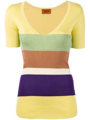 Полосатый свитер с V-образным вырезом Missoni. Цвет: желтый