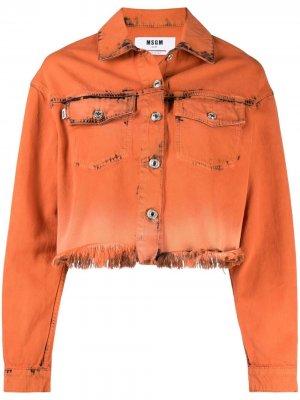 Джинсовая куртка с эффектом потертости MSGM. Цвет: оранжевый