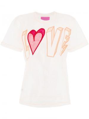 Футболка с вышивкой Love Viktor & Rolf. Цвет: розовый