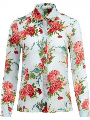 Рубашка с цветочным принтом Alice+Olivia. Цвет: синий