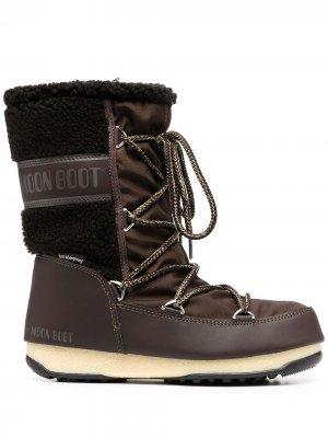 Массивные ботинки на шнуровке Moon Boot. Цвет: коричневый