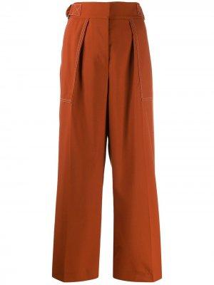 Укороченные брюки с D-образными пряжками Marni. Цвет: оранжевый