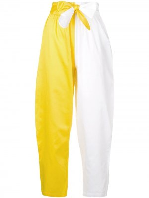 Укороченные брюки дизайна колор-блок Mara Hoffman. Цвет: белый