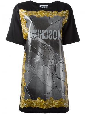 Платье-футболка с принтом зеркала Moschino. Цвет: чёрный