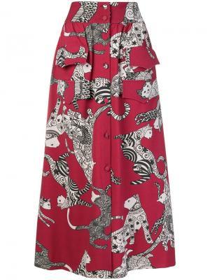 Cat print skirt Ultràchic. Цвет: красный