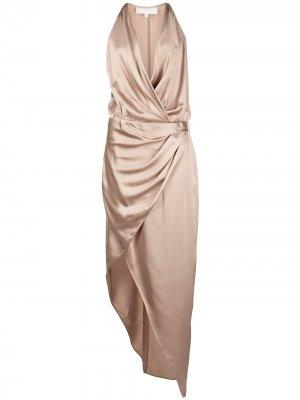 Платье асимметричного кроя с вырезом халтер Michelle Mason. Цвет: коричневый