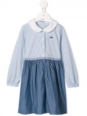 Двухцветное платье на пуговицах Familiar. Цвет: синий