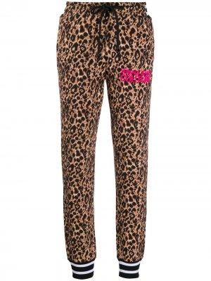 Спортивные брюки с леопардовым принтом Versace Jeans Couture. Цвет: коричневый