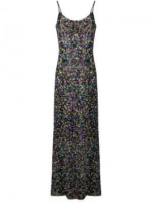 Удлиненное платье с пайетками Ultràchic. Цвет: металлик