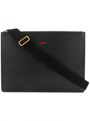 Сумка для ноутбука с логотипом Gucci. Цвет: черный