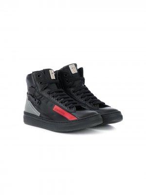 Высокие кроссовки с логотипом Cesare Paciotti Kids. Цвет: черный