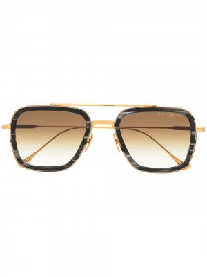 Солнцезащитные очки в квадратной оправе Dita Eyewear. Цвет: золотистый