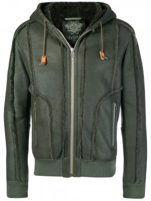 Кожаная куртка с капюшоном Mr & Mrs Italy. Цвет: зеленый