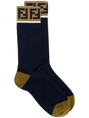 Носки с логотипом FF Fendi. Цвет: синий