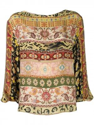 Блузка с длинными рукавами и принтом Etro. Цвет: желтый