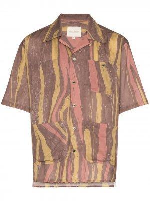 Полосатая рубашка Aloha с короткими рукавами Nicholas Daley. Цвет: коричневый