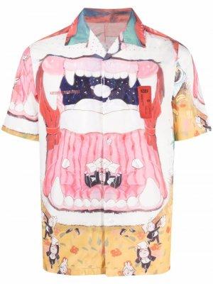 Рубашка с графичным принтом Kids of broken future. Цвет: розовый