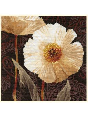 Набор для вышивания Белые цветы: Открытый свету  25х25 см Алиса. Цвет: темно-коричневый