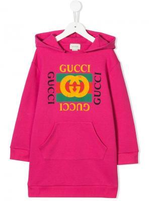 Толстовка с капюшоном и заплаткой логотипом Gucci Kids. Цвет: розовый