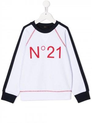 Толстовка с логотипом Nº21 Kids. Цвет: белый