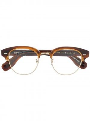 Очки в оправе черепаховой расцветки Oliver Peoples. Цвет: коричневый