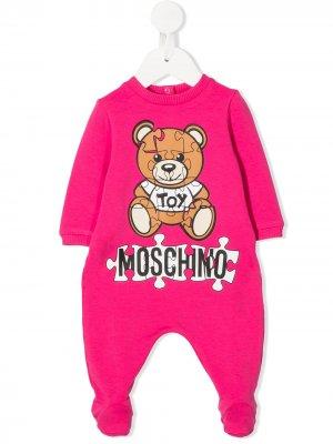 Ромпер с логотипом Moschino Kids. Цвет: розовый