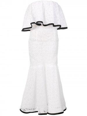 Кружевное платье с открытыми плечами Carolina Herrera. Цвет: белый