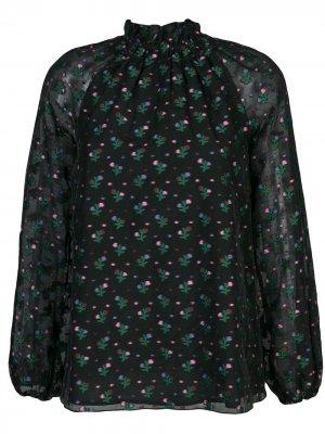 Блузка Florence со сборками на воротнике Cynthia Rowley. Цвет: черный