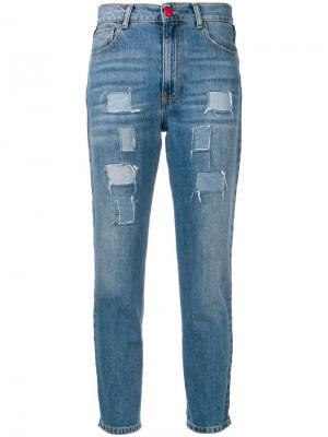 Укороченные джинсы с полосками по бокам History Repeats. Цвет: синий
