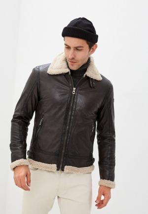Куртка кожаная Gipsy. Цвет: коричневый