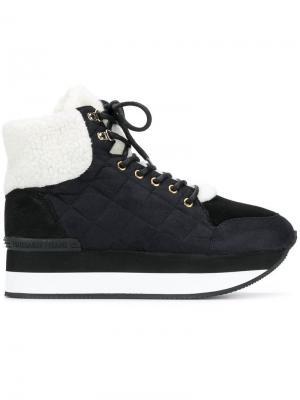 Стеганые кроссовки на шнуровке Trussardi Jeans. Цвет: черный