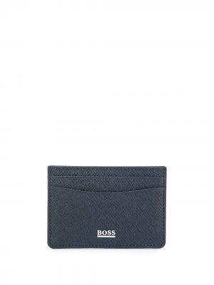 Фактурный картхолдер с логотипом BOSS. Цвет: синий