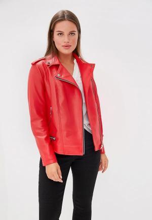 Куртка кожаная Violeta by Mango. Цвет: красный