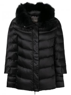 Fur trimmed puffer jacket Hetregò. Цвет: черный