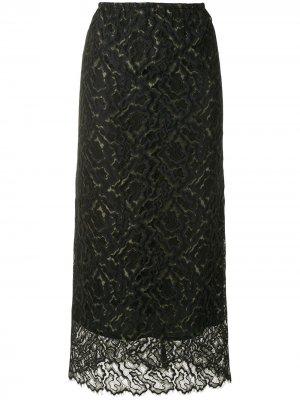 Кружевная юбка макси Beaufille. Цвет: черный